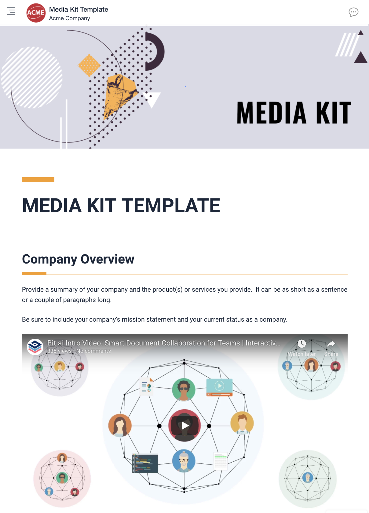 Media kit template - Bit.ai