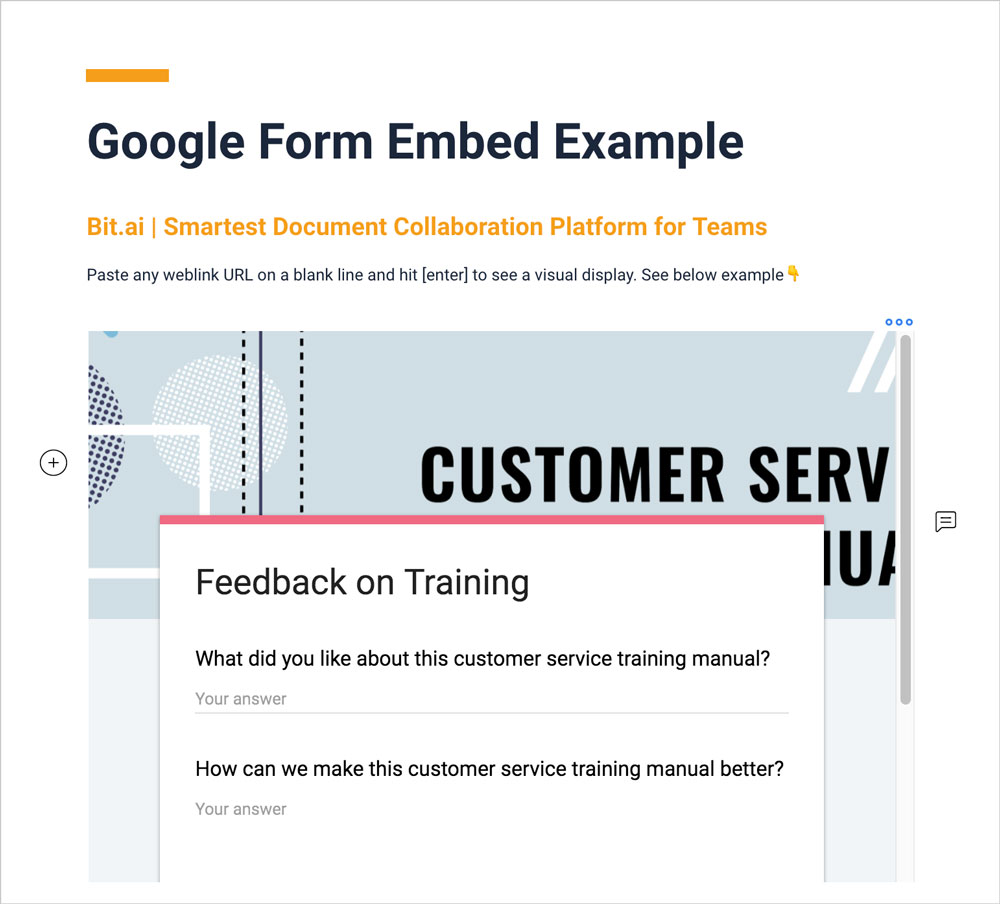 Preview of a google form embedded in bit document