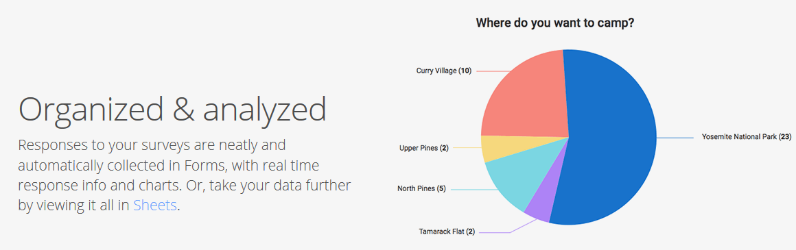 Pie chart created through data collected via google form