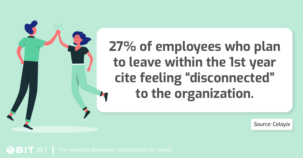 "27% of employees who plan to leave within the first year cite feeling ""disconnected"" to the organization."