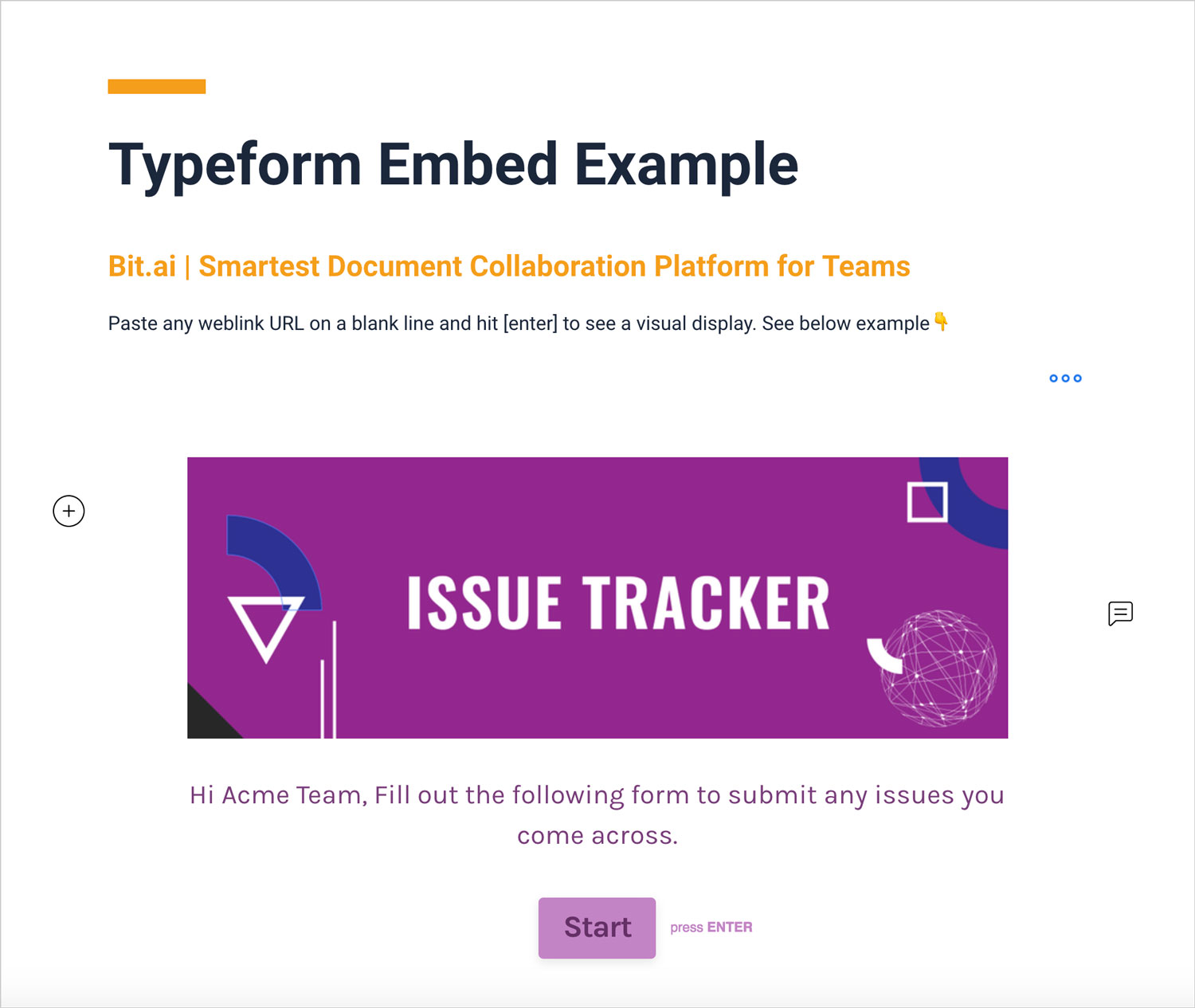 Preview of embedded typeform in a bit document