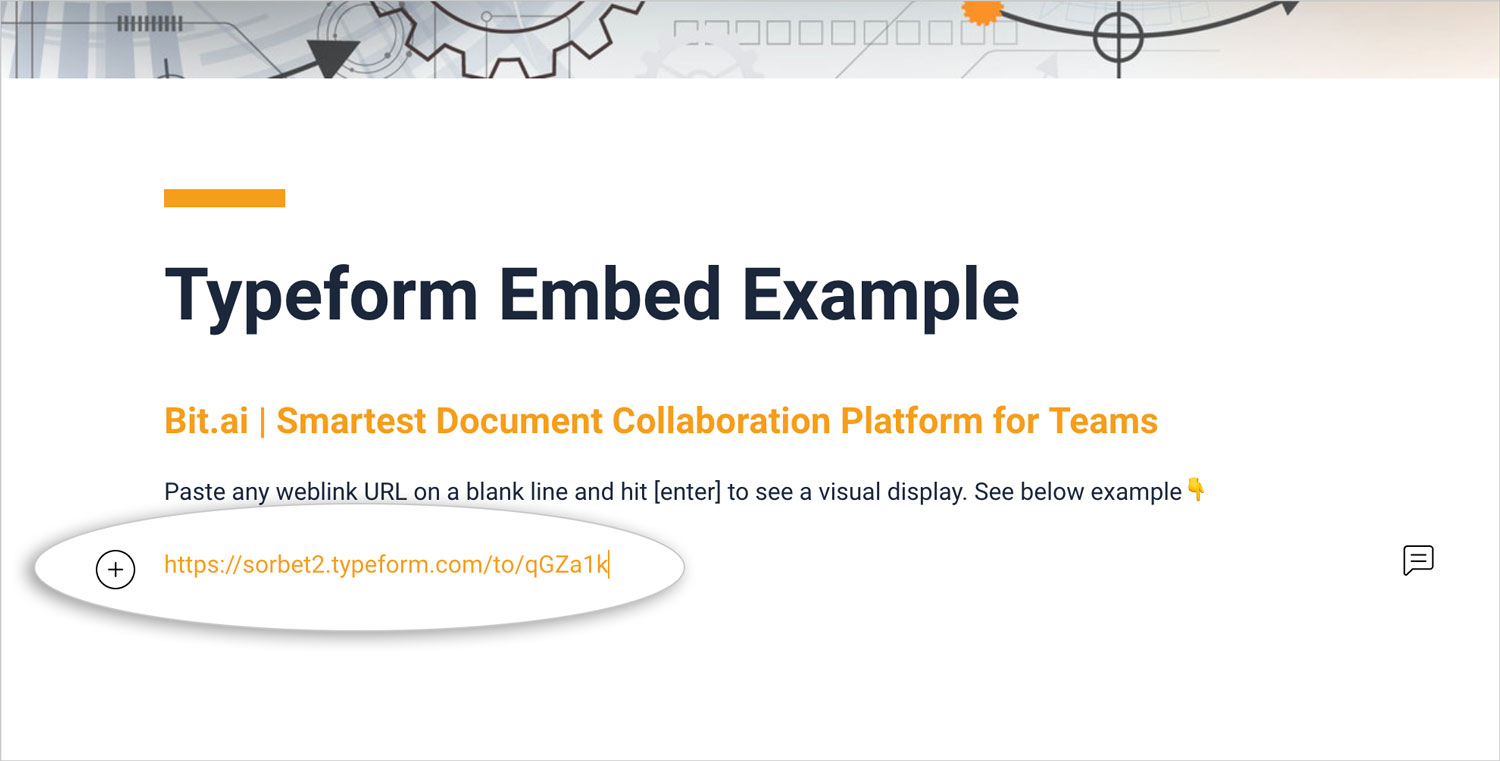 Preview of pasting typeform link in bit document