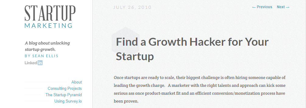 Growth hacking blog post by sean