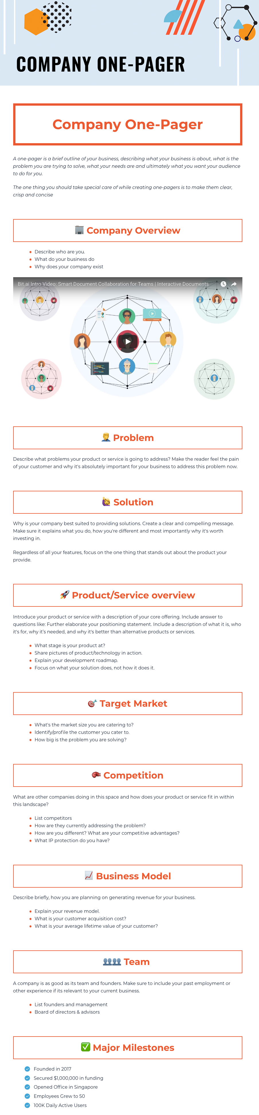 Business One Pager template