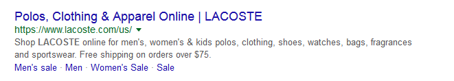 Lacoste' meta description example