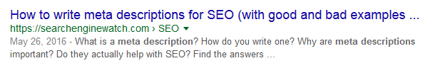 Searchenginewatch website's meta description example