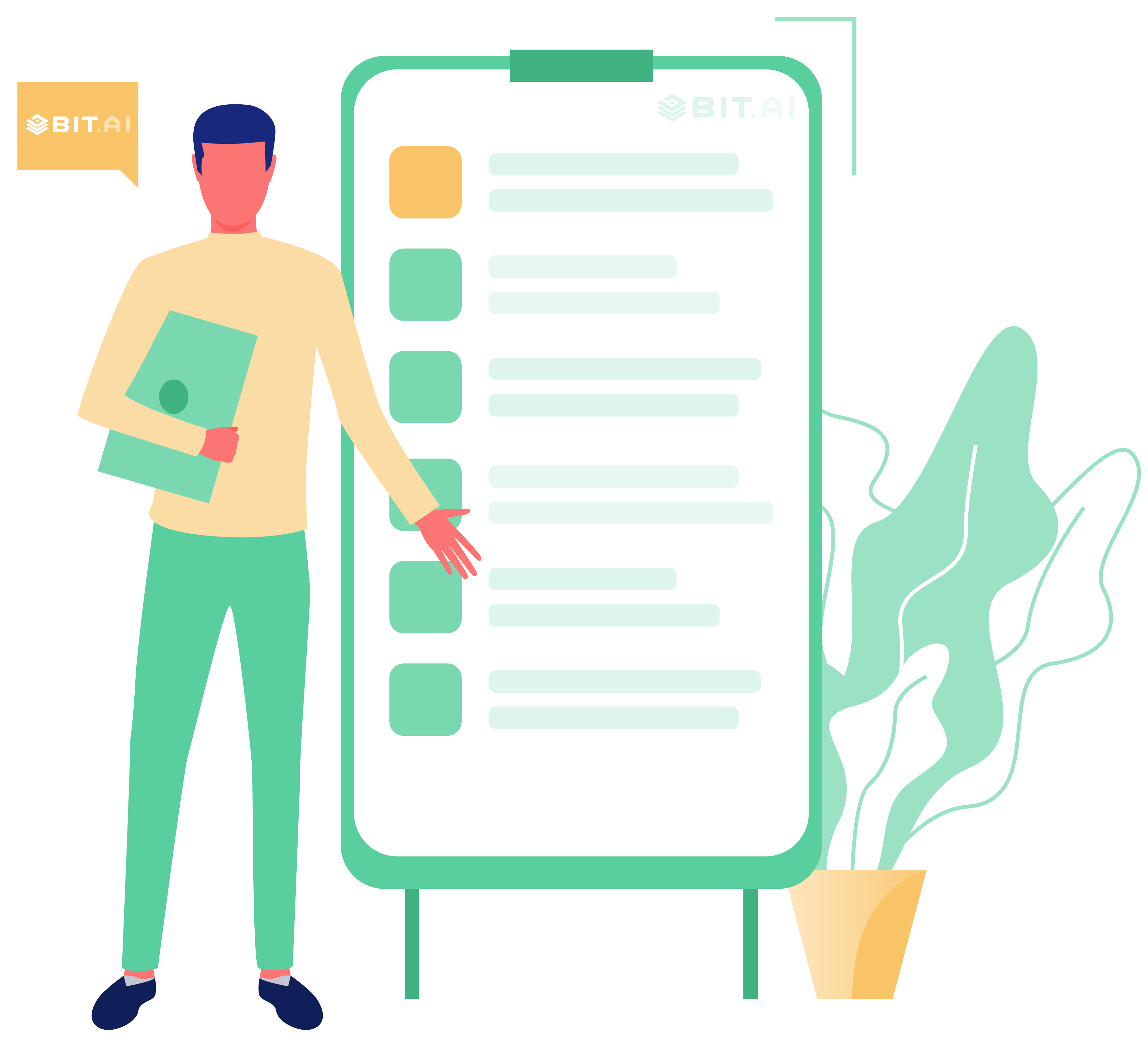 Animated illustration of a training manual guide