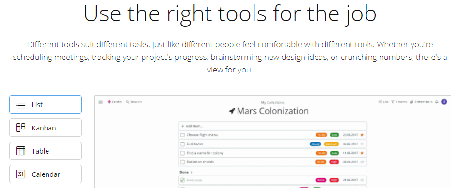 Zenkit: Online collaboration tool