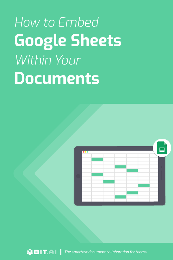 How to embed google sheets within your documents - Pinterest image