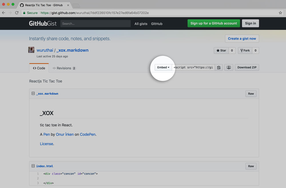 Preview of embed button on gitHub