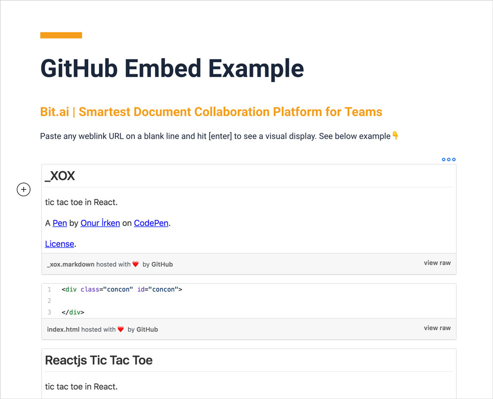 Preview of embedded Github example in a bit document