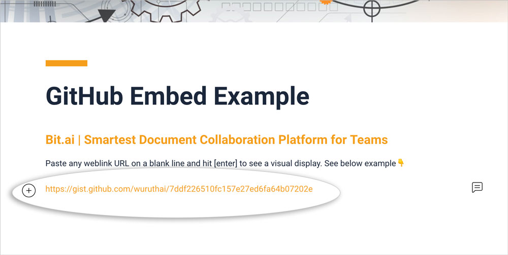 Preview of pasting github gist link in a bit document