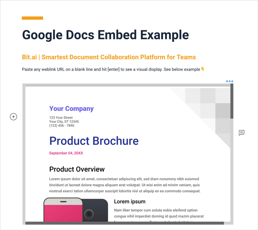 Preview of google docs embedded in bit document