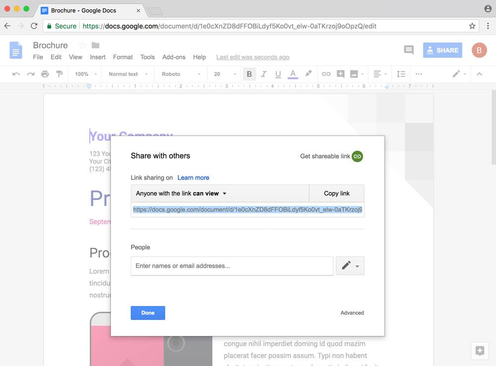Google docs link copy preview