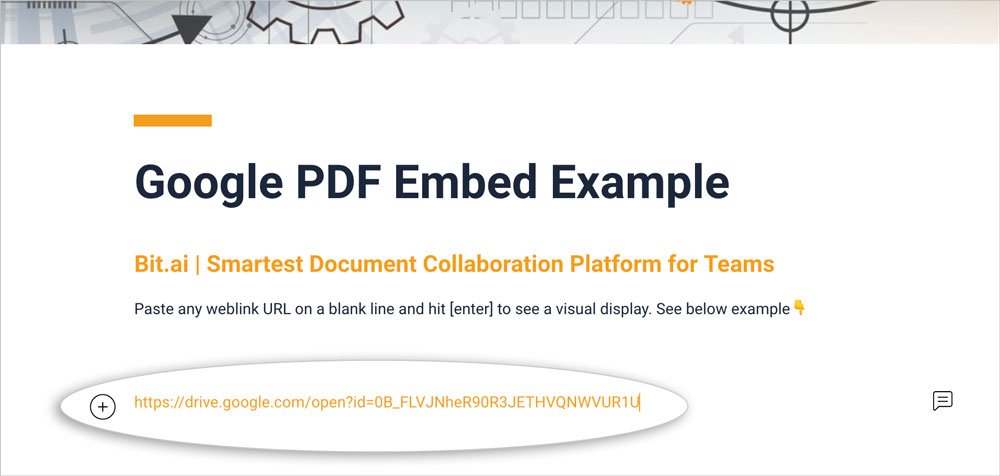 Preview of pasting the shareable pdf file link in a bit document