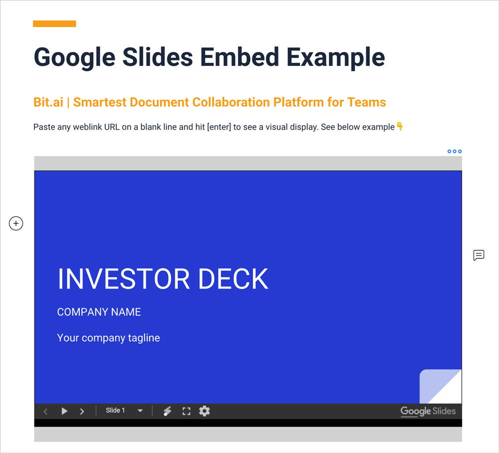 Preview of embedded google slides in a bit document