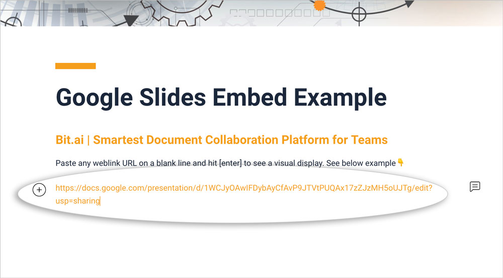 Preview of pasting the google slides link to bit document