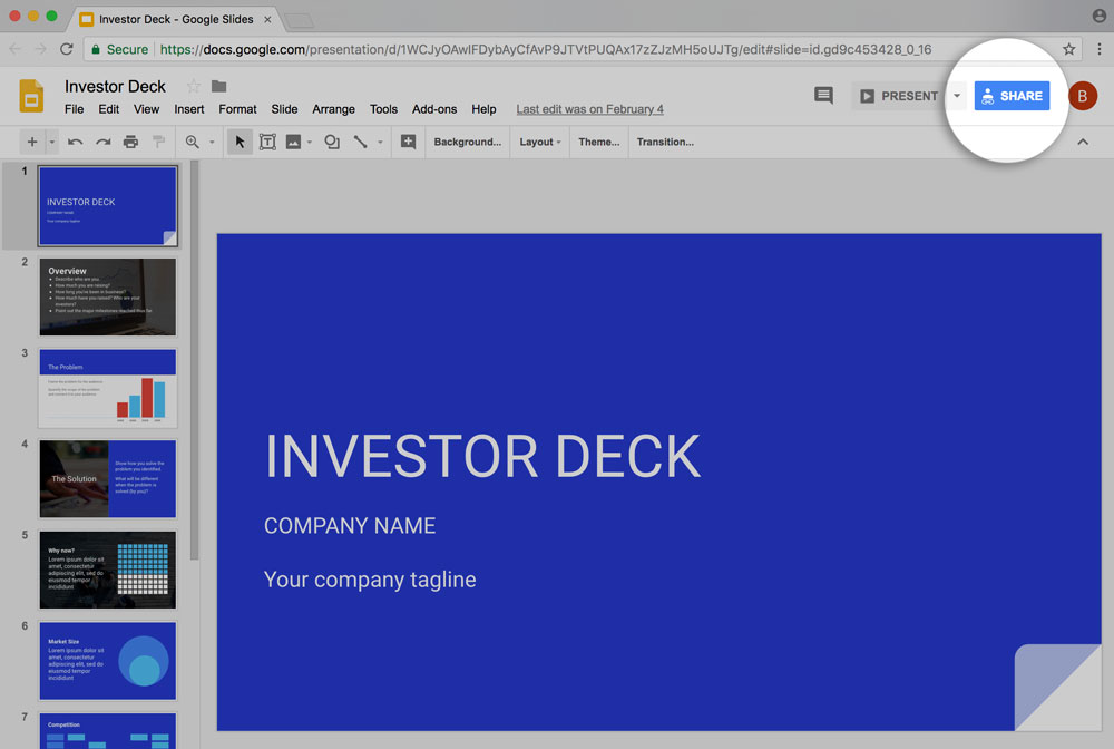 Preview of sharing google slides