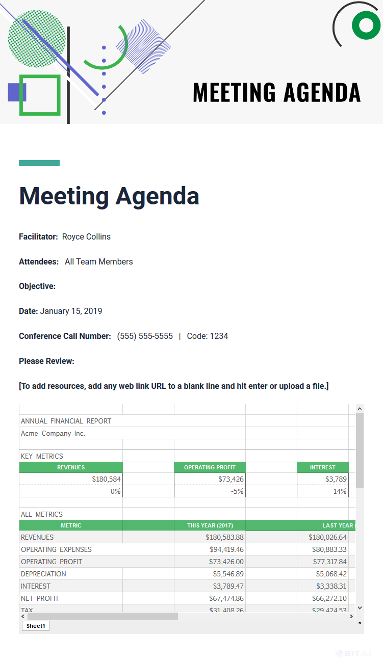 Example of embedded google sheet used in meeting agenda document