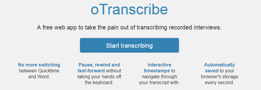 Otranscribe : Writing tool