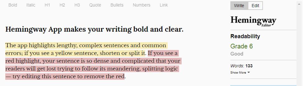 Hemingway : Writing tool