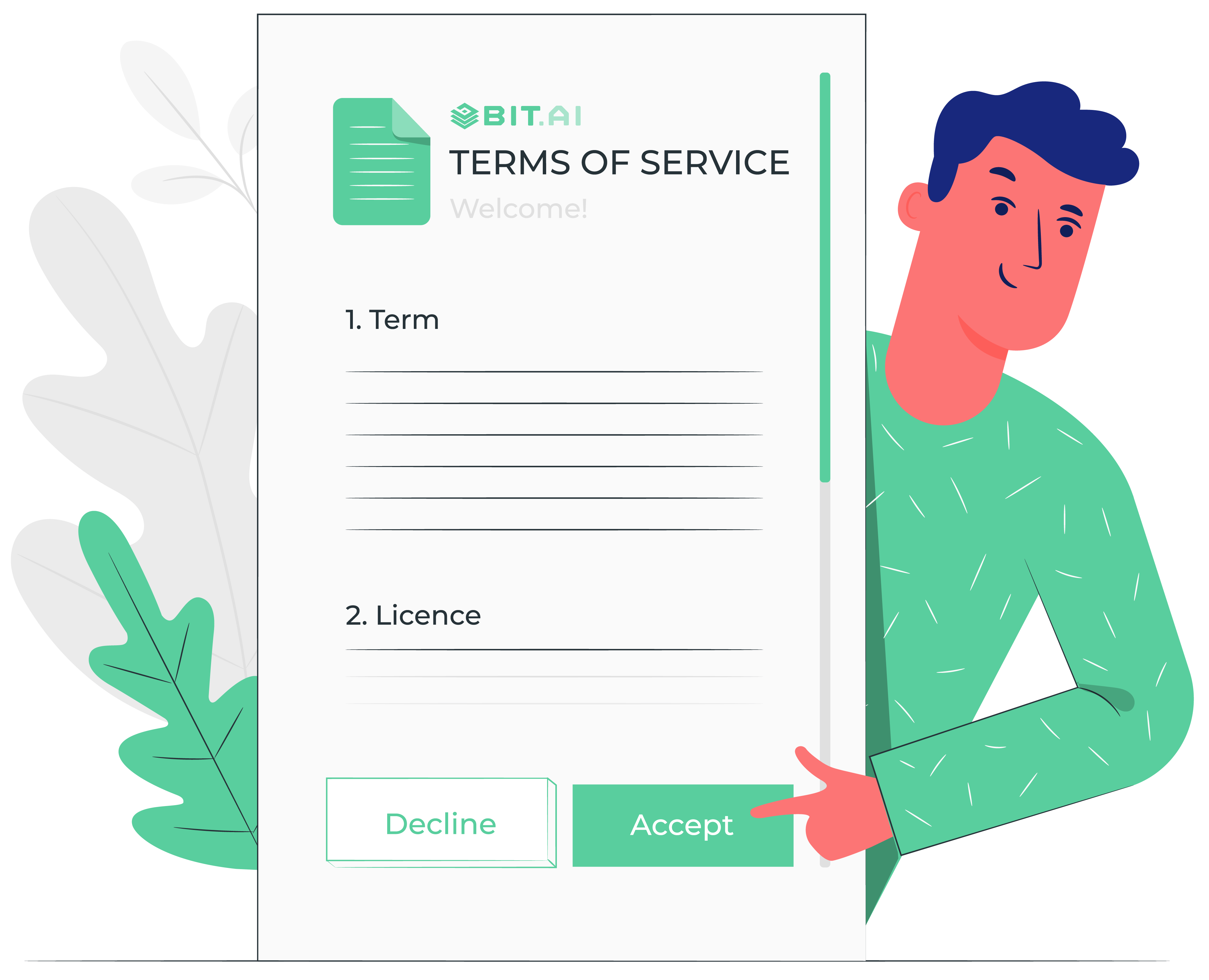 Animated illustration of bit.ai's business one pager