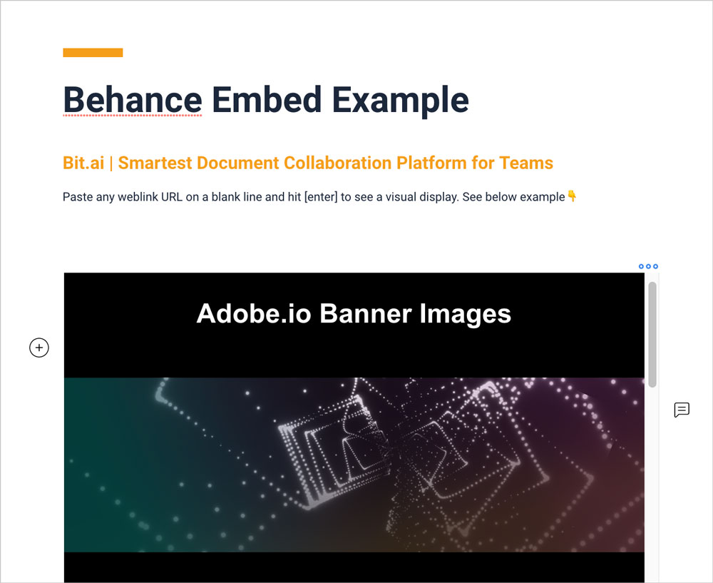 Preview of embedded behance in bit document