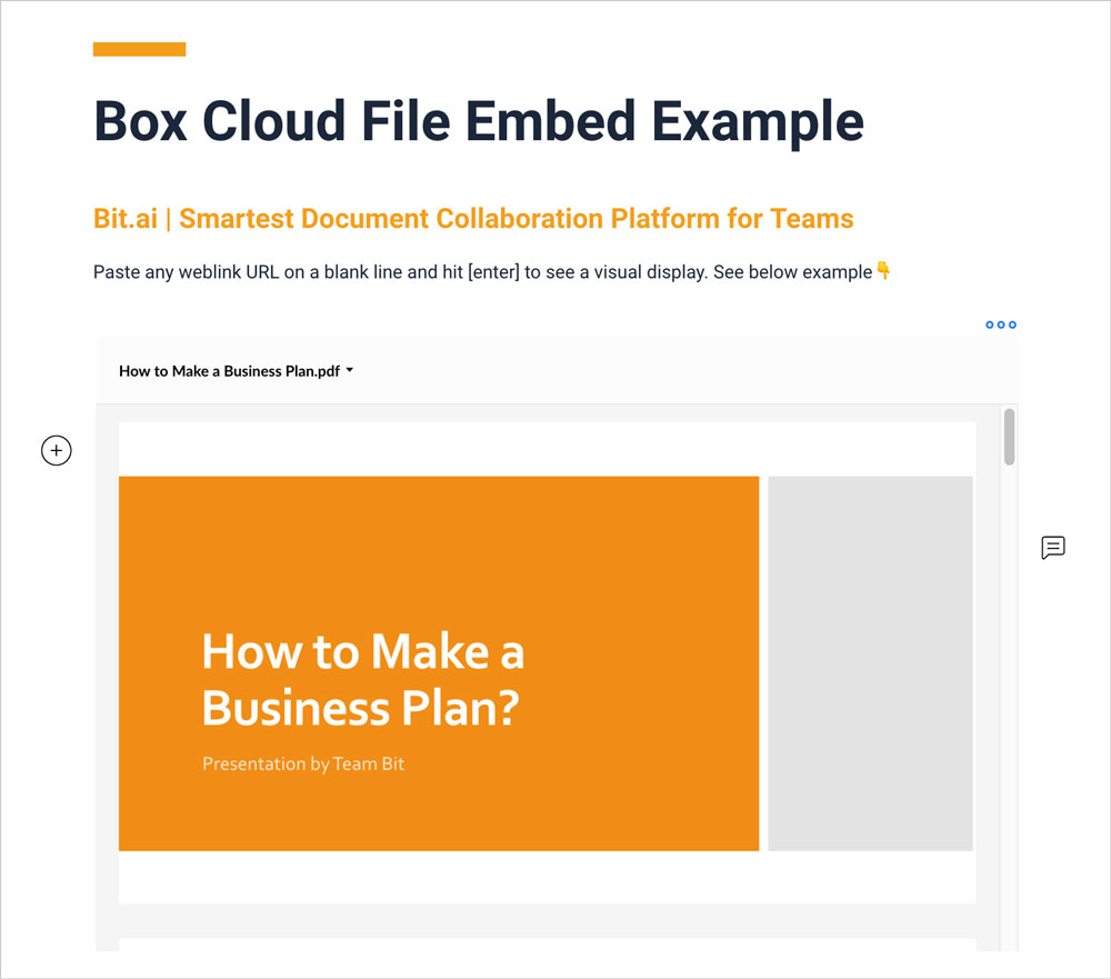 Preview of embedded box file in a bit document