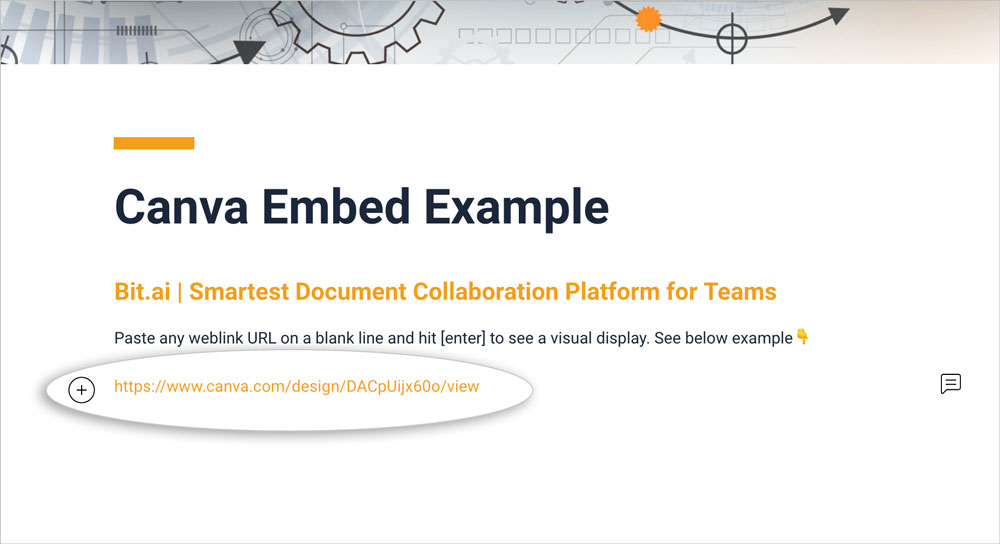 Preview of pasting canva's shareble link to bit document
