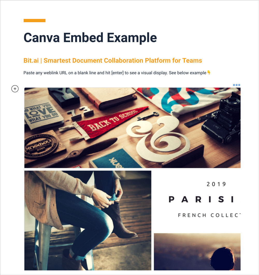 Preview of embedded canva design in a bit document