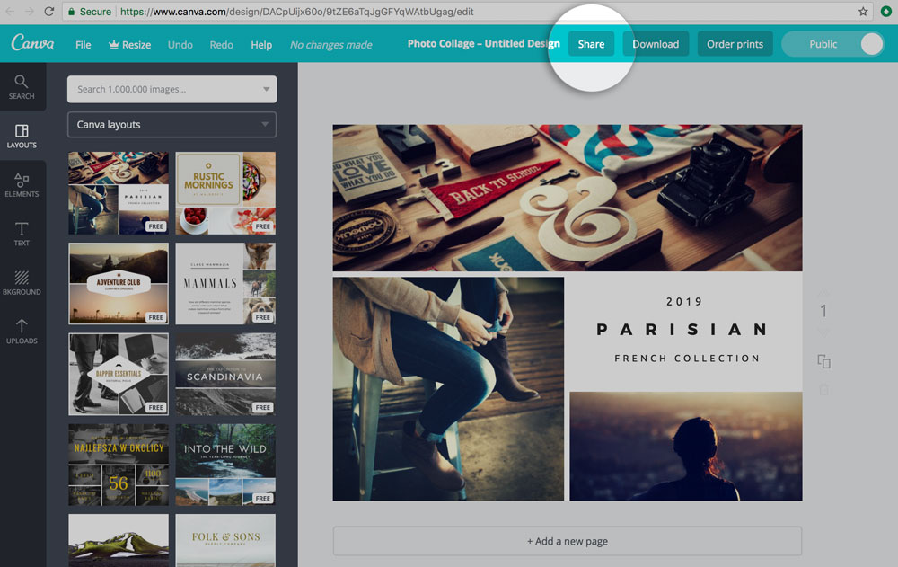 Preview of share button on canva dashboard
