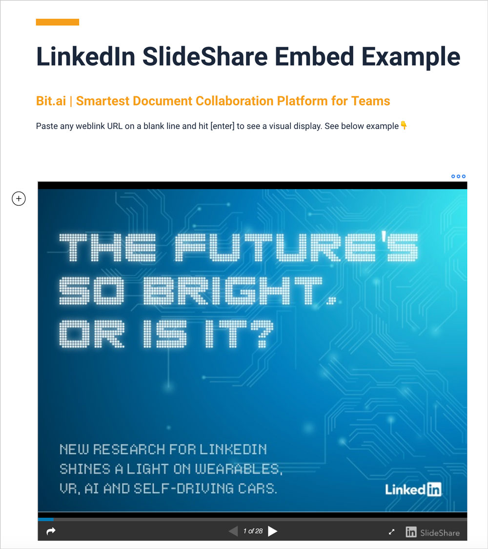 Preview of embedded slideshare presentation in a bit document