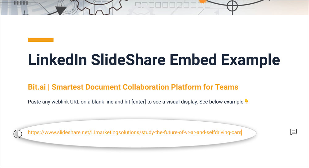 Preview of pasting the slideshare presentation link in a bit document