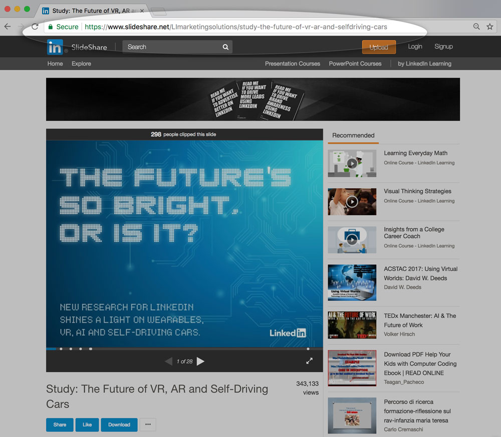 Preview of share button on slideshare dashboard