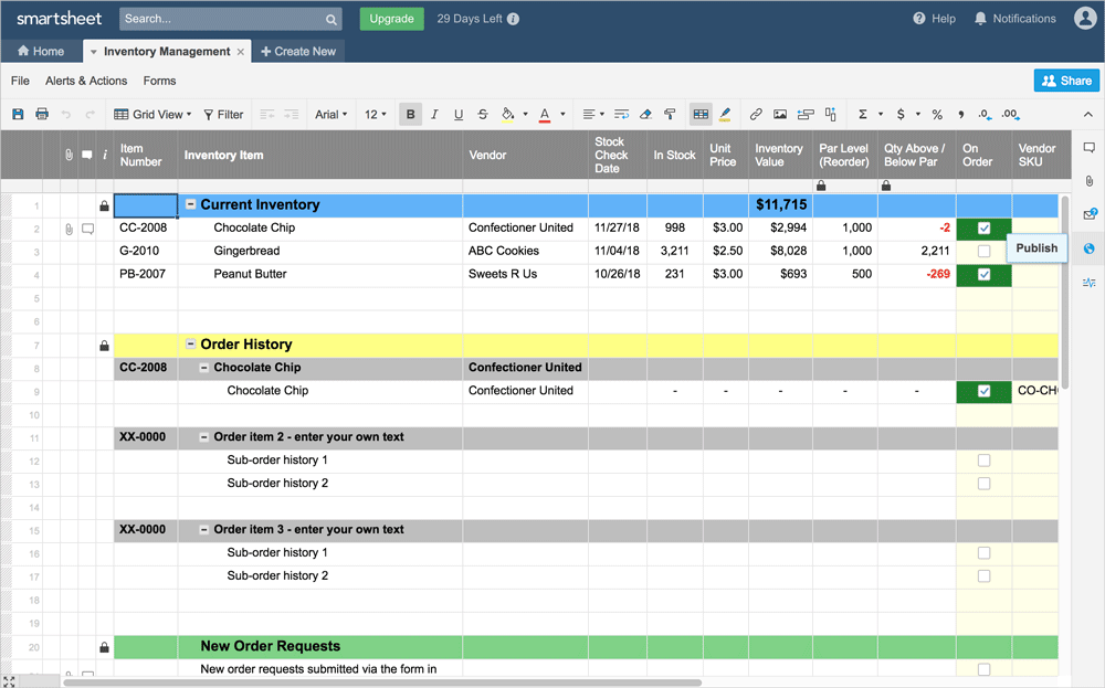 Preview of publish button on your smartsheet spreadsheet