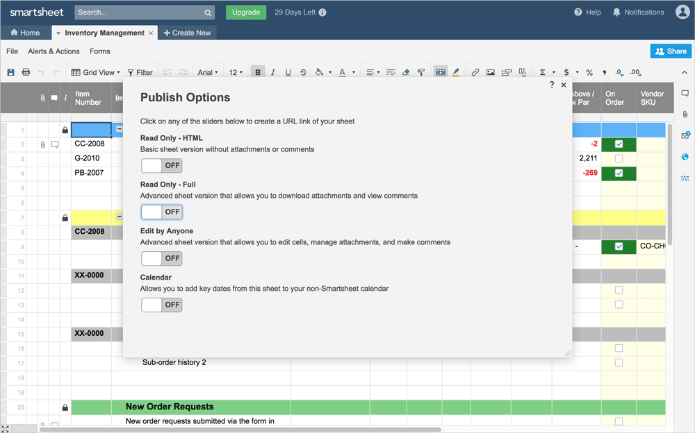 Preview of publish options on a smartsheet