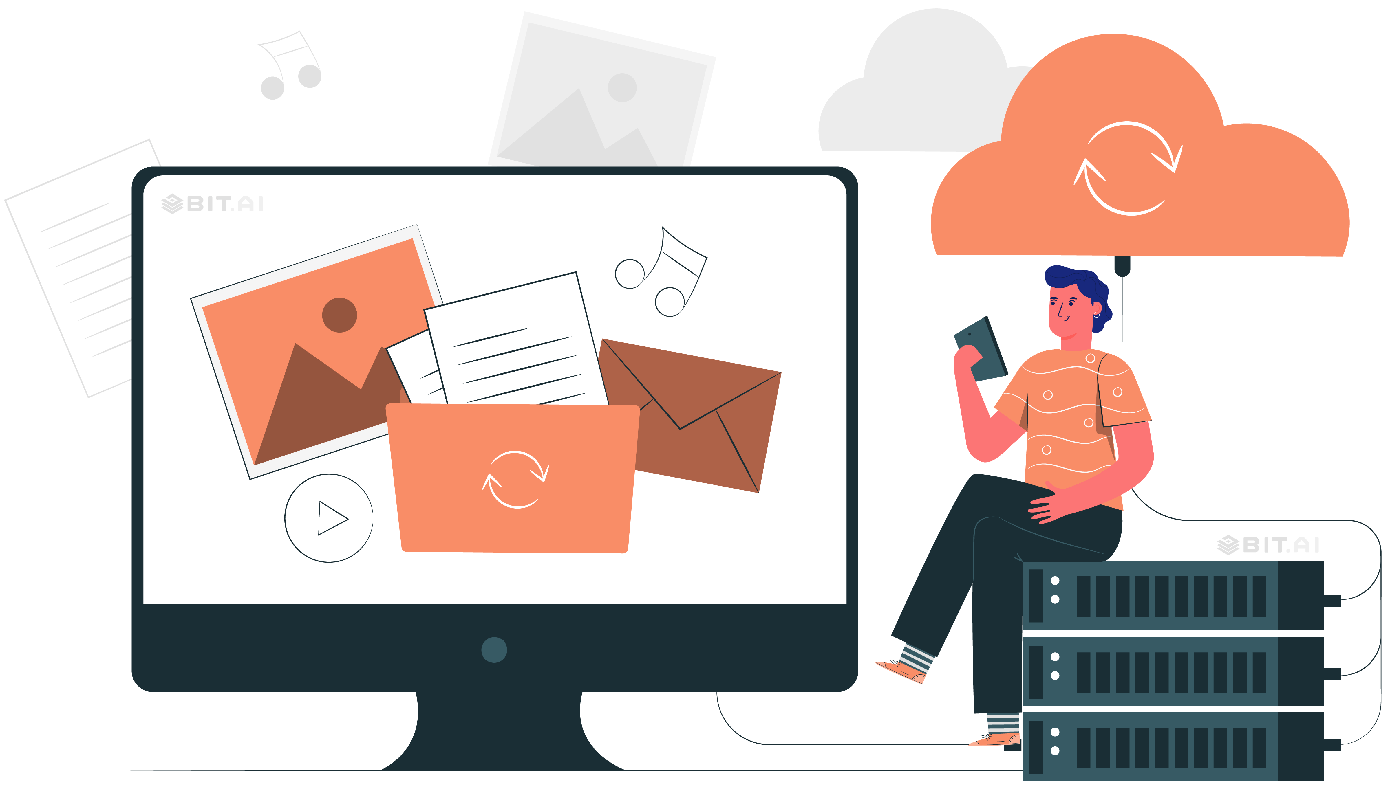 Animated illustration of a man sharing cloud files