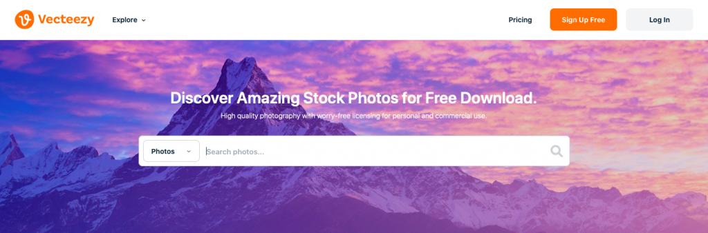 Vecteezy: Free stock photos website