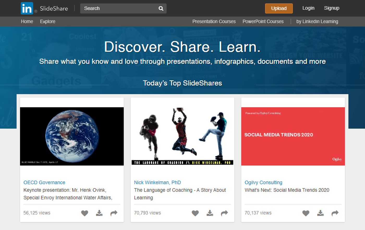 Slideshare dashboard