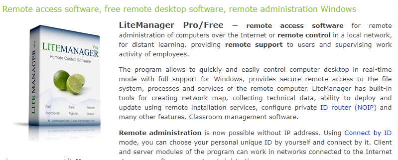Lite Manager: Screen sharing software