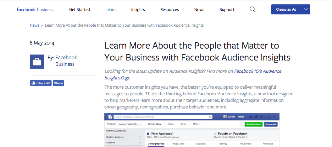 Facebook insight tool for digital marketing