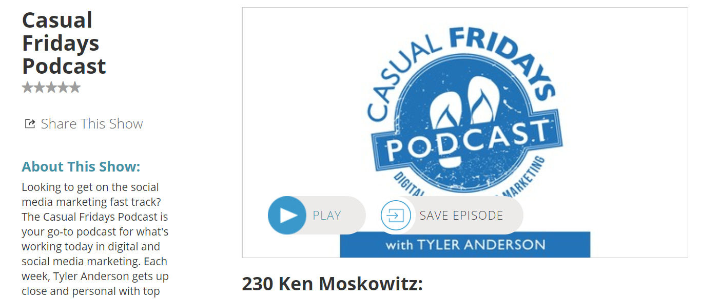 Casual fridays podcast for learning marketing
