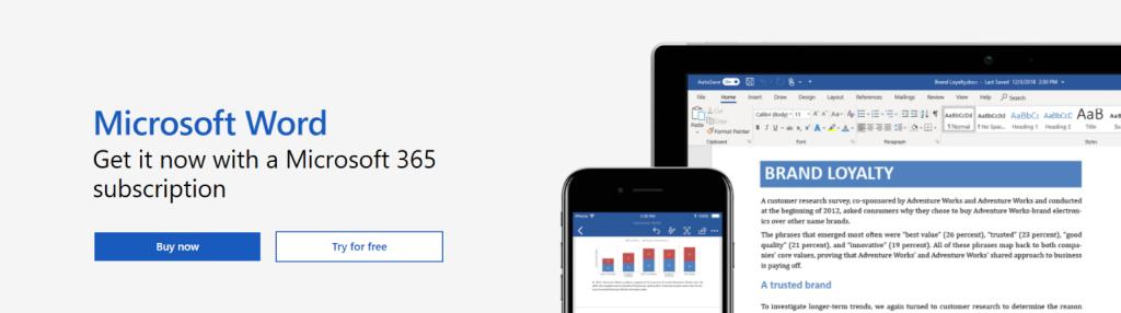 Microsoft word: Writing app