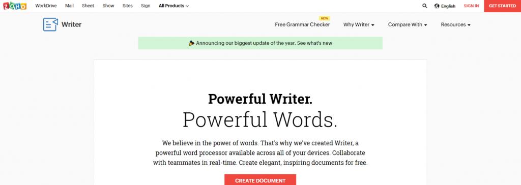Zoho writer: Writing app