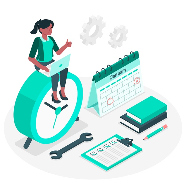 A girl organizing her work