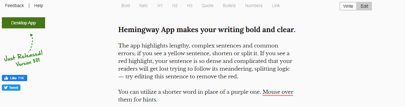 Hemingway: Best app for writing a book