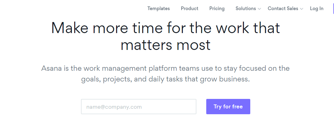 Asana tool for project management