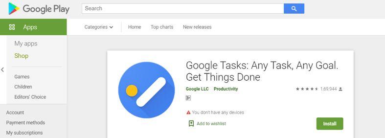 Google task: To do list app