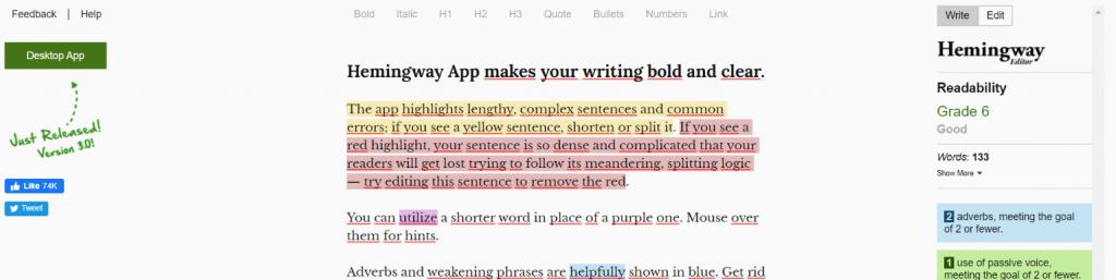 Hemingway: Writing tool