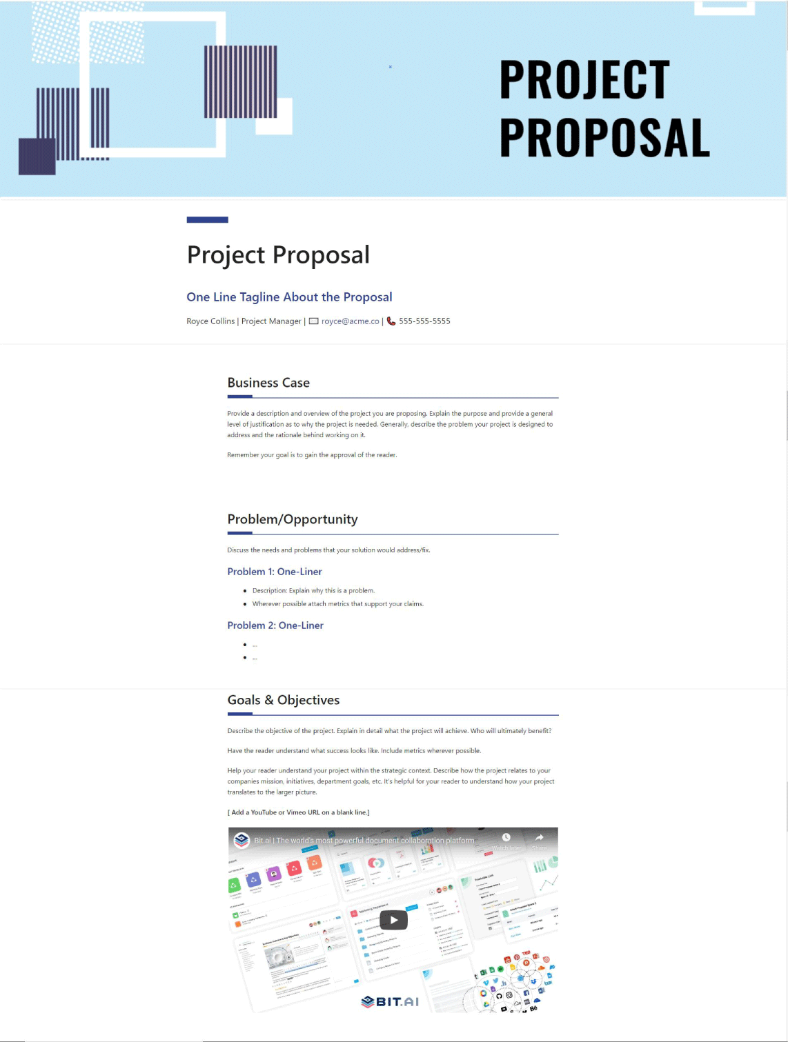 Project proposal template example